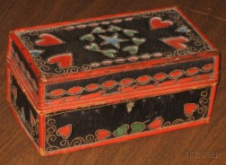 Polychrome Leather Covered Box with Heart and Star Cut-outs