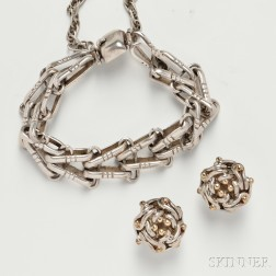 Hector Aquilar (1905-1986) Bracelet and Pair of Tane Orfevres Earrings