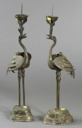 Pair of Chinese Bronze Heron-form Pricket Candlesticks
