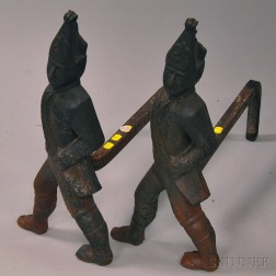 Pair of Cast Iron Hessian Andirons