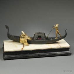 Raphael Nannini (Italian, 19th/20th Century)     Gilded and Patinated Bronze of a Couple in a Gondola