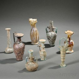 Eight Roman-style Glass Vessels