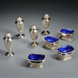 Four English Sterling Silver Casters and Four Salts