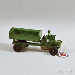Kingsbury Pressed Steel Green-painted Wind-up Contractor's Dump Truck