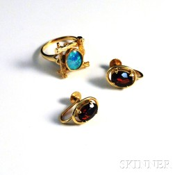 14kt Gold Ring and Earclips