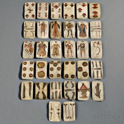 Thirty-two Painted Hide Apache Playing Cards