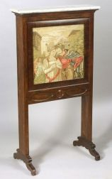 American Victorian Needlework, Rosewood and Marble-top Billiard Ball Holder