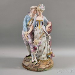 Large Figural Polychrome-decorated Parian Group