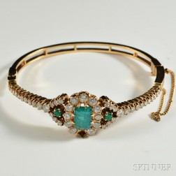 14kt Gold, Diamond, and Emerald Bangle