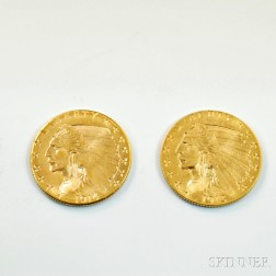 1914-D and a 1913 Indian Head Two and a Half Dollar Gold Coins.