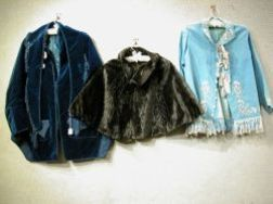 Victorian Beaded and Fringed Velvet Capes and Jacket and an Embroidered   and Fringed Jacket.