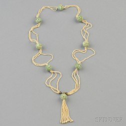 Seed Pearl and Jade Bead Sautoir