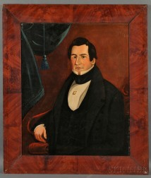 American School, 19th Century      Portrait of a Gentleman Seated in a Classical Chair.