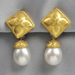 22kt and 18kt Gold and South Sea Pearl Day/Night Earpendants, Maija Neimanis