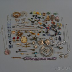 Assorted Group of Sterling Silver and Costume Jewelry