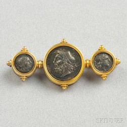 Antique 18kt Gold and Silver Coin Brooch, Ernesto Pierret