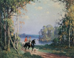 Frederick Mortimer Lamb (American, 1861-1936)    Two Women Equestrians in a Landscape