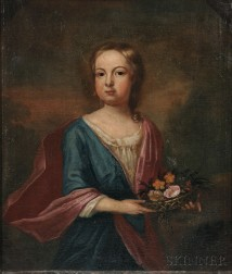 Anglo/American School, 18th Century      Portrait of a Young Girl with a Basket of Flowers