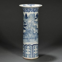 Blue and White Cylindrical Vase