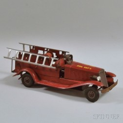 Marx Pressed Steel Friction Motor-driven Electric Fire Ladder Truck