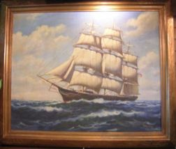 Framed American School Oil on Canvas of a Clipper Ship