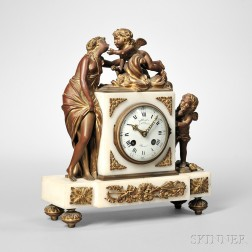 Ormolu-mounted Gilt and Marble Figural Mantel Clock