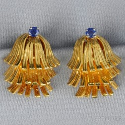 18kt Gold and Sapphire Earclips, Erwin Pearl