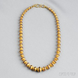Etruscan Revival 15kt Gold Bead and Amethyst Necklace