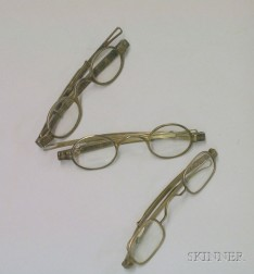 Three Pair of Coin Silver Spectacles by Early American Makers