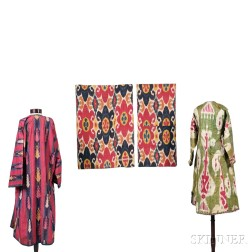 Two Central Asian Ikat Jackets and Two Ikat Panels
