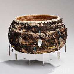 Pomo Feather-covered Basketry Bowl