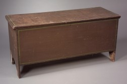 Black and Green Striped Brown-painted Six-Board Chest.