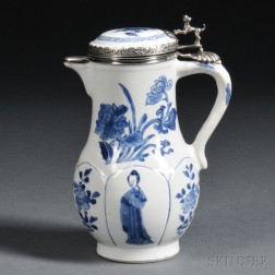 Silver-mounted Blue and White Hot-milk Covered Jug