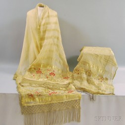 Two Sheer Gold Silk Veils with Metallic Woven Strips