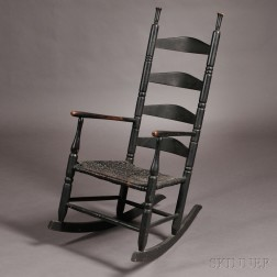 Black-painted Slat-back Armed Rocking Chair