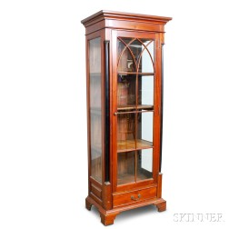 French Empire-style Mahogany and Beveled Glass Cupboard
