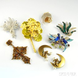 Small Group of Mostly Signed Costume Jewelry