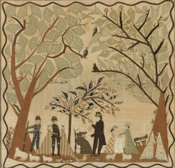 Folk Art Appliqued Needlework Picture of a Family Outing