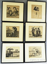 Honoré Daumier (French, 1808-1879)      Set of Six Framed Lithographs: