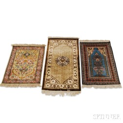 Three Contemporary Chinese Small Rugs