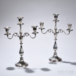 Pair of Victorian Silver-plate Convertible Candelabra