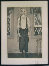 Stephen M. Hale (American, 1961-2008)      Portrait of a Bare-chested Man in Suspenders.