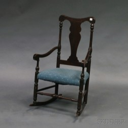 Country Queen Anne-style Brown-painted Armrocker