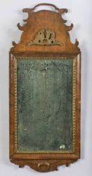 Queen Anne Walnut and Parcel Gilt Looking Glass