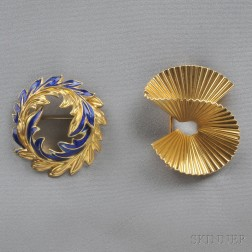 Two Gold Brooches, One Tiffany & Co.
