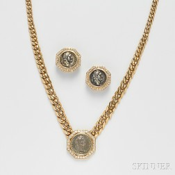 18kt Gold, Silver Coin, and Diamond Suite