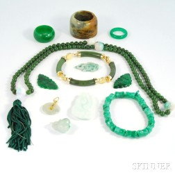 Small Group of Asian Hardstone and Jade Jewelry