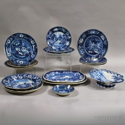 Eighteeen Staffordshire Blue and White Transfer-decorated Items