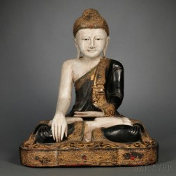 Inlaid Lacquered Wood Figure of Buddha