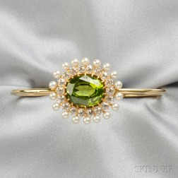 Antique 18kt Gold, Peridot, Pearl and Diamond Element, Bailey, Banks & Biddle